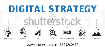digital strategy concept template. Horizontal banner. Contains such icons as internet, SEO, content marketing, mission