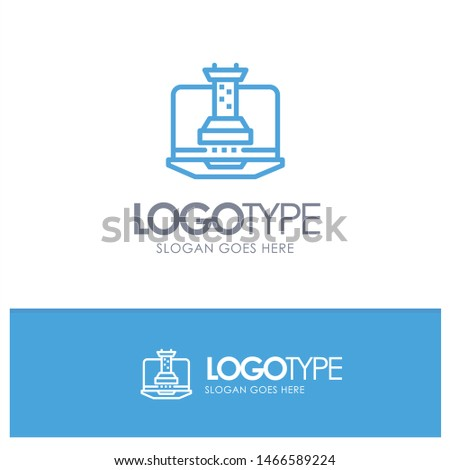 Digital, Strategy, Digital Strategy, Marketing Blue Outline Logo Place for Tagline. Vector Icon Template background