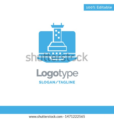 Digital, Strategy, Digital Strategy, Marketing Blue Solid Logo Template. Place for Tagline. Vector Icon Template background