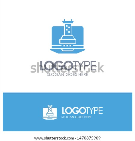 Digital, Strategy, Digital Strategy, Marketing Blue Solid Logo with place for tagline. Vector Icon Template background