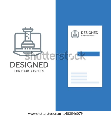 Digital, Strategy, Digital Strategy, Marketing Grey Logo Design and Business Card Template