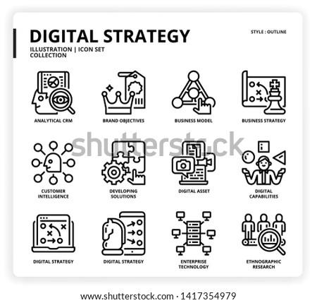 Digital Strategy icon set for web design, book, magazine, poster, ads, app, etc.