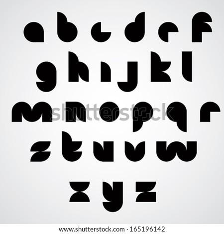 Digital style geometric simple font, modern stylized letter shapes, lowercase vector black set. Stock fotó ©
