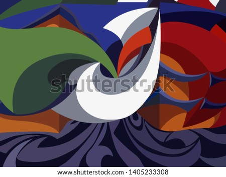 digital style inspired by a painting futurist and geometric. Colorful background
