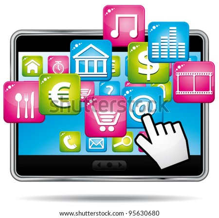 Digital tablet with apps and hand cursor. Vector icon.