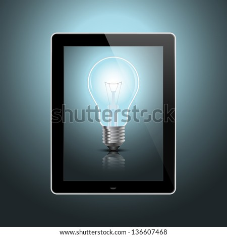 digital tablet with light bulb conceptual design.EPS10