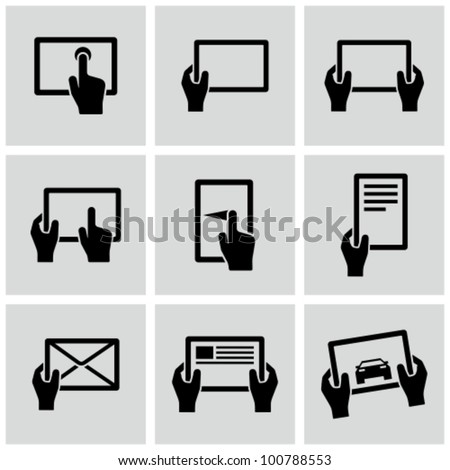 Digital tablets icons set.