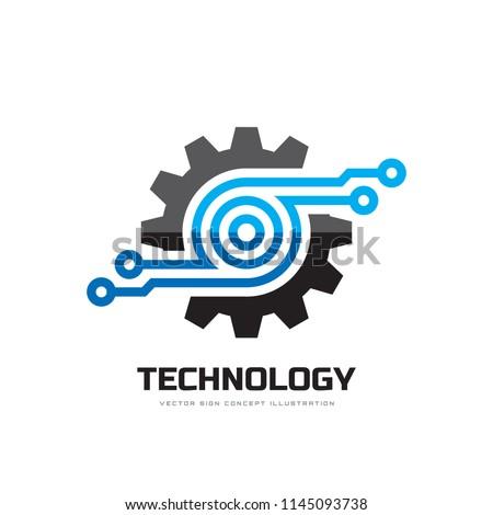Digital tech - vector business logo template concept illustration. Gear electronic factory sign. Cog wheel technology symbol. SEO emblem. Design element.