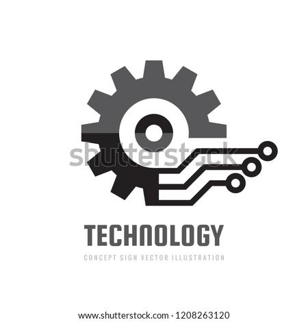 Digital tech - vector business logo template concept illustration. Gear electronic factory sign. Cog wheel technology symbol. SEO emblem. Graphic design element.