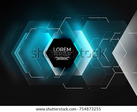 Digital techno abstract background, glowing hexagons, vector geometric hi-tech background with shiny light effects and figures, blue color