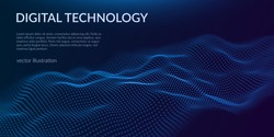 Digital technology background. Abstract connections. Futuristic sci-fi user interface concept with gradient.  Big data, artificial intelligence, music hud. Blockchain and cryptocurrency. Vector