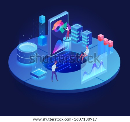 Digital technology dark isometric vector illustration. Mobile development. Teamwork on corporate project. Optimization and productivity. Innovative virtual platform cartoon conceptual design element