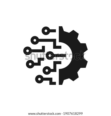 Digital technology gear icon concept isolated on white background. Vector illustration