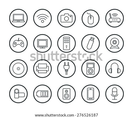 Digital technology linear icons set. Vector line art symbols isolated on white