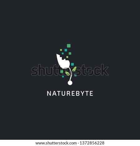 Digital technology logo style, nature byte plant logo icon symbol with abstract byte illustration