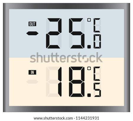 Digital thermometer indicator. Hot and cold temperature (celsius) vector illustration