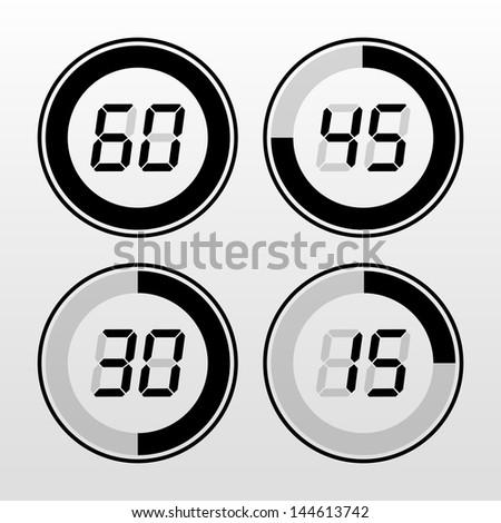 Digital timer. Black on white background.