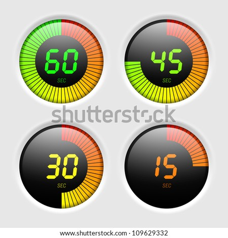 Digital timer. Vector.