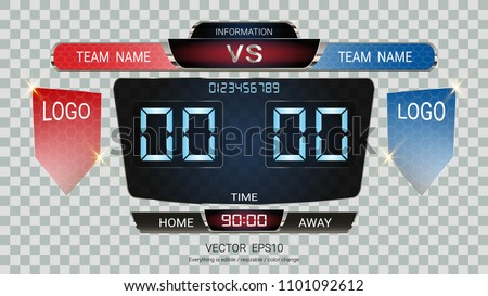 Digital timing scoreboard, Football match team A vs team B, Strategy broadcast graphic template for presentation score or game results display (EPS10 vector fully editable, resizable and color change)