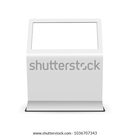 Digital touch screen mockup isolated on white background - front view. Advertising display with blank screen. Vector illustration
