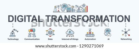 Digital Transformation banner web icon in futuristic, ai, technology, communication, iot, automation and cloud computing. Minimal vector infographic.
