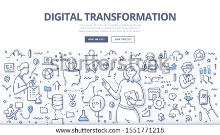 Digital transformation concept. Integration of digital technology into business. Digitalization of company activities & processes. Doodle illustration for web banners, hero images, printed media