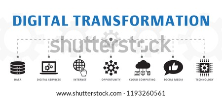 digital transformation concept template. Horizontal banner. Contains such icons as digital services, internet, cloud computing, technology