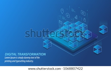 Digital transformation concept, Transformation of Business into Digital Business, Internet of things vector banner with icons