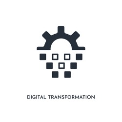 digital transformation icon. simple element illustration. isolated trendy filled digital transformation icon on white background. can be used for web, mobile, ui.