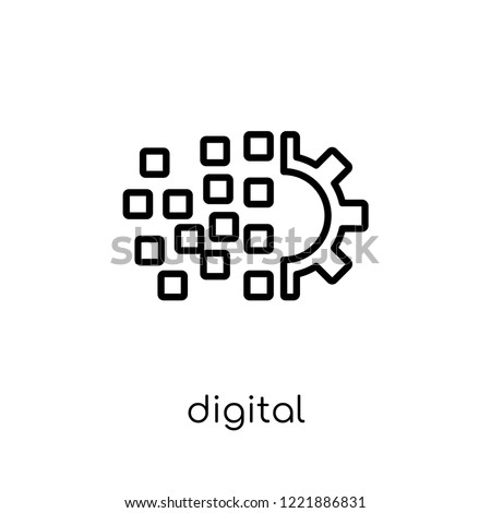 digital transformation icon. Trendy modern flat linear vector digital transformation icon on white background from thin line general collection, editable outline stroke vector illustration