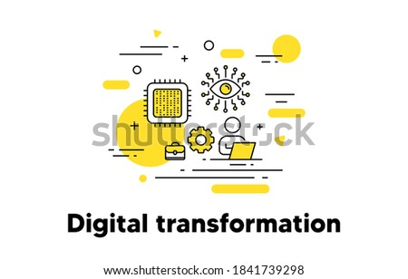 Digital transformation line icon. Artificial intelligence concept illustration. Recruiting and hire employee. Work schedule timetable. Editable stroke. Artificial intelligence, cpu vector icon