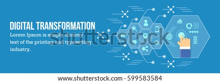 Digital transformation of Business, Technology transforming business into digital business flat vector illustration with icons