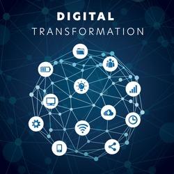 Digital Transformation Technology Banner Icon Social Media Web Site Internet Big Data Network Abstract Symbol Digital Connect Blue Computer