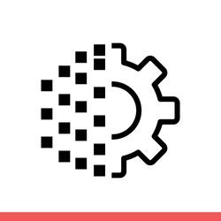 Digital transformation vector icon, gear symbol. Simple, flat design for web or mobile app