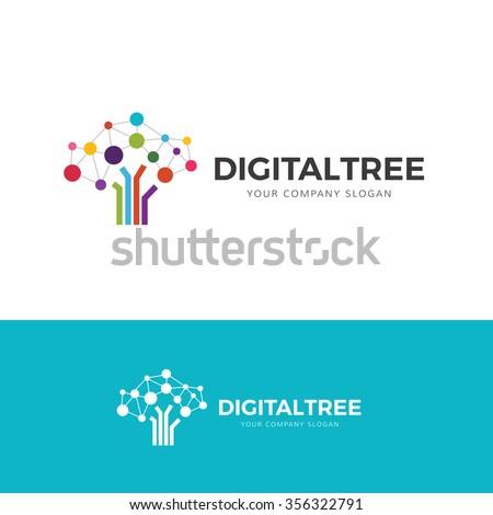 digital tree logo  brain and