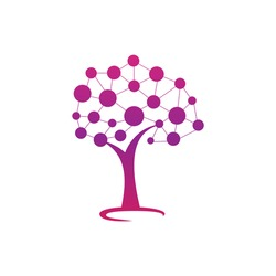 Digital Tree logo design. Technology, nature, wireless, internet, network  vector logo template