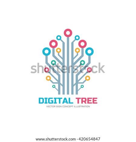 digital tree   vector logo