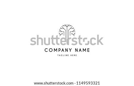 Digital tree vector logo image