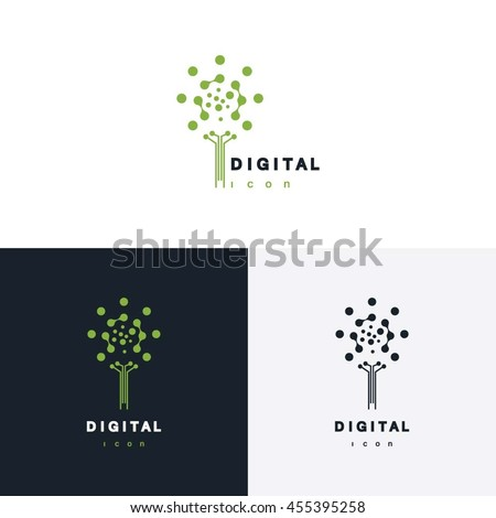 digital tree vector logo
