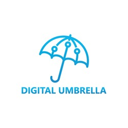Digital umbrella logo template design