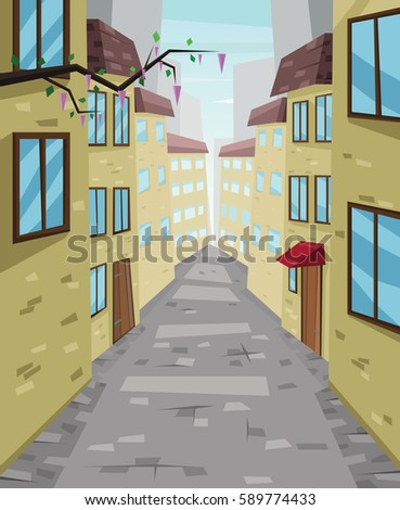 Digital vector abstract background with a stone street and road between houses, urban, flat triangle style