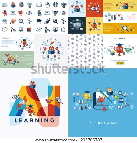 Digital vector artificial intelligence self learning icon set infographics