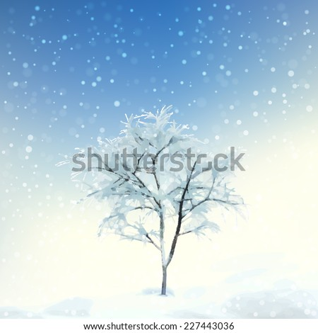 Digital vector artistic painting, winter watercolor landscape with snow, frozen tree