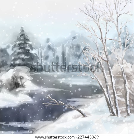 Digital vector artistic painting, winter watercolor landscape with snow, river, frozen trees
