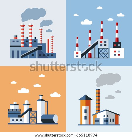 Digital vector blue factory pollution icons with drawn simple line art info graphic, presentation with plant, smoke, environment and energy elements around promo template, flat style