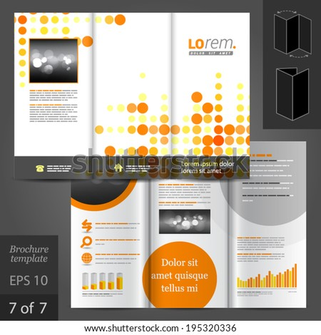 Digital vector brochure template design with and yellow round elements #195320336