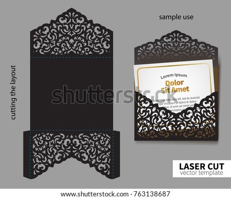 Laser cut organic envelope template download free vector art digital vector file for laser cutting swirly ornate wedding invitation envelope stopboris Image collections
