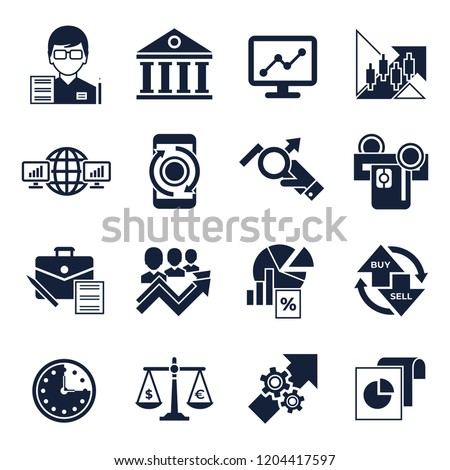 Digital vector financial trading market exchange simple icons set collection flat style infographics