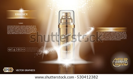 Digital vector golden glass bottle spray essence mockup on brown background, with your brand, ready for print ads or magazine design. Transparent and shine, realistic 3d style