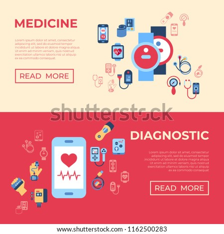 Digital vector health sensor icons set with drawn simple line art info graphic, flat style #1162500283